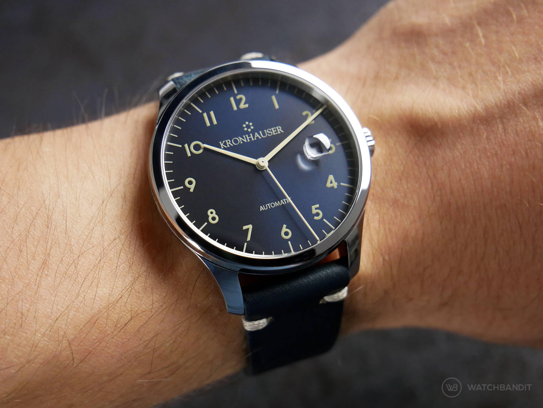 Kronhauser Dark Blue Sunburst wrist shot on watchbandit vintage strap