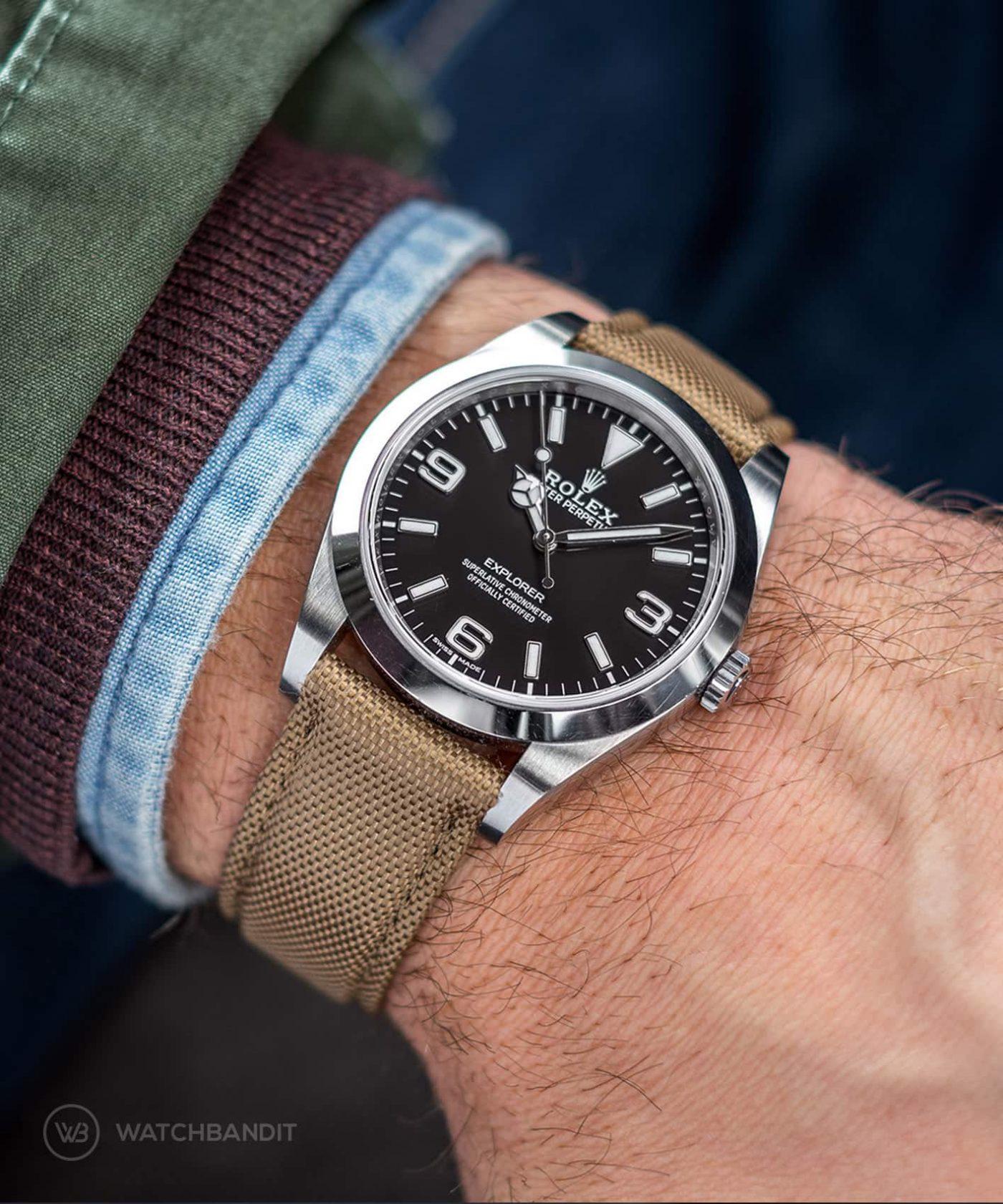 Rolex Explorer I Watchbandit Cordura Strap Khaki