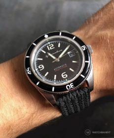 Spinnaker Fleuss SP-5055-02 am schwarzen Eulit-Palma Perlon WatchBandit