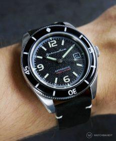 Spinnaker Fleuss SP-5055-02 schwarzes Vintage-Lederarmband von WatchBandit
