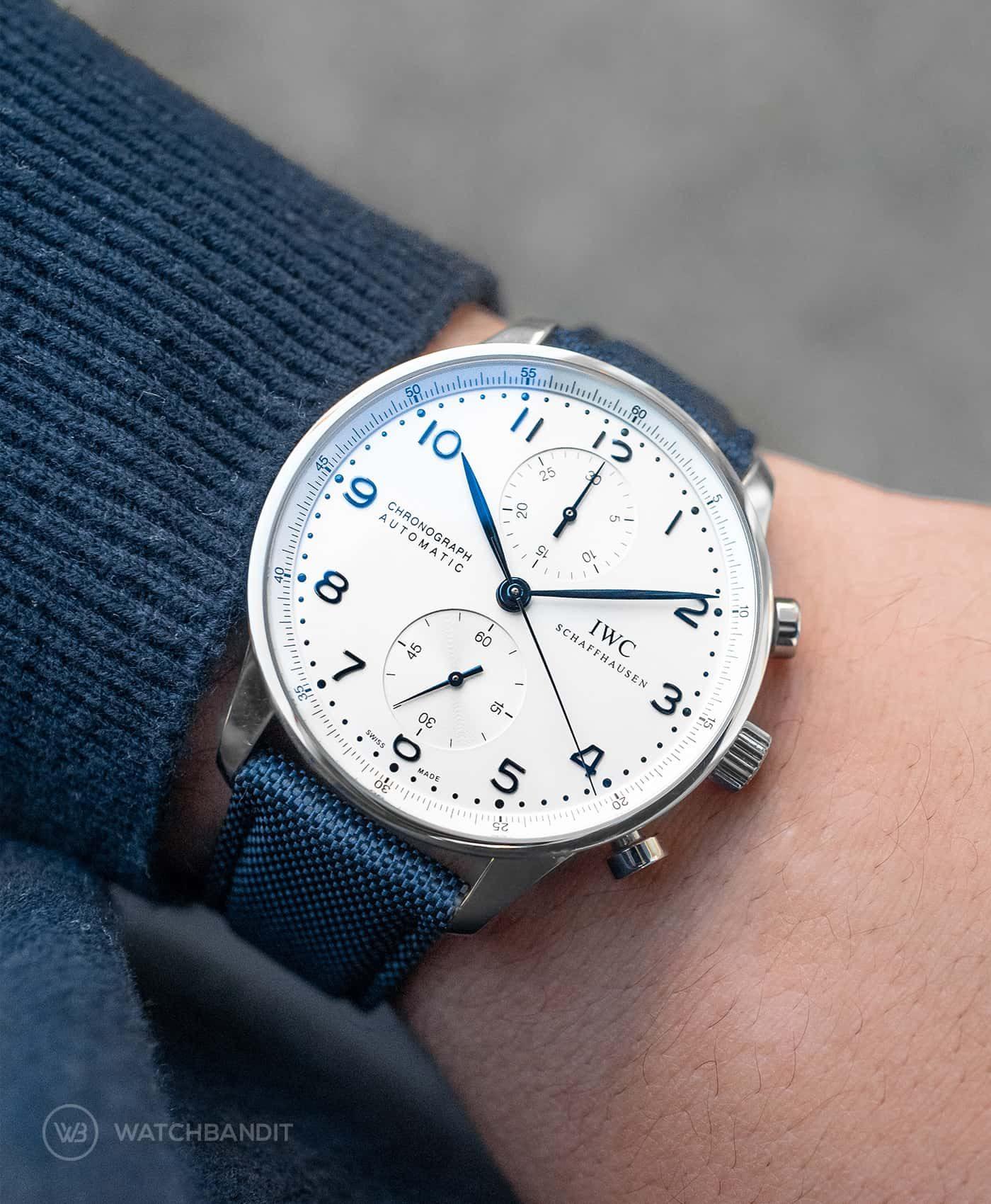 Watchbandit navy blue Cordura on IWC Portugieser Chronograph by Gulenissen WB