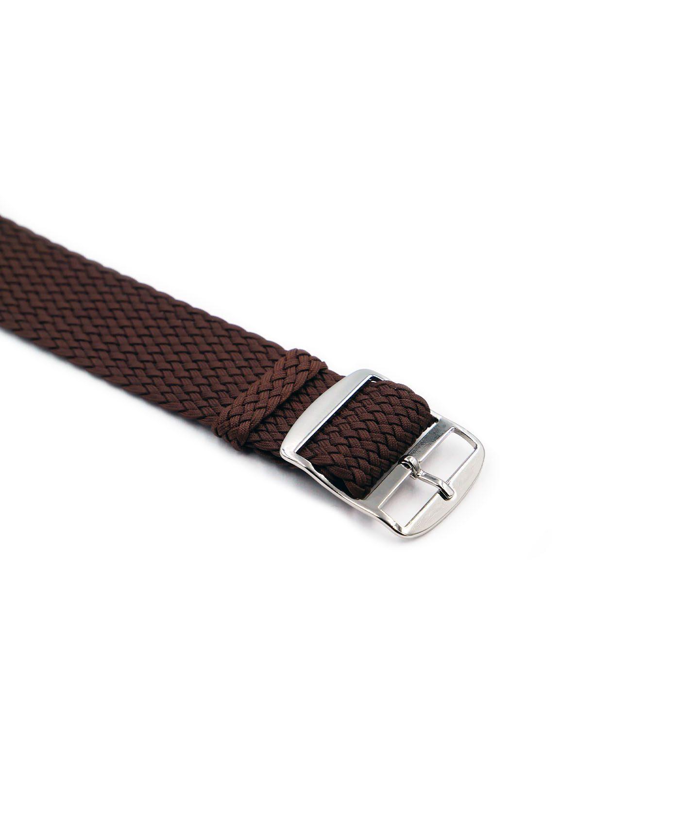 Watchbandit Premium Perlon Watch strap brown buckle