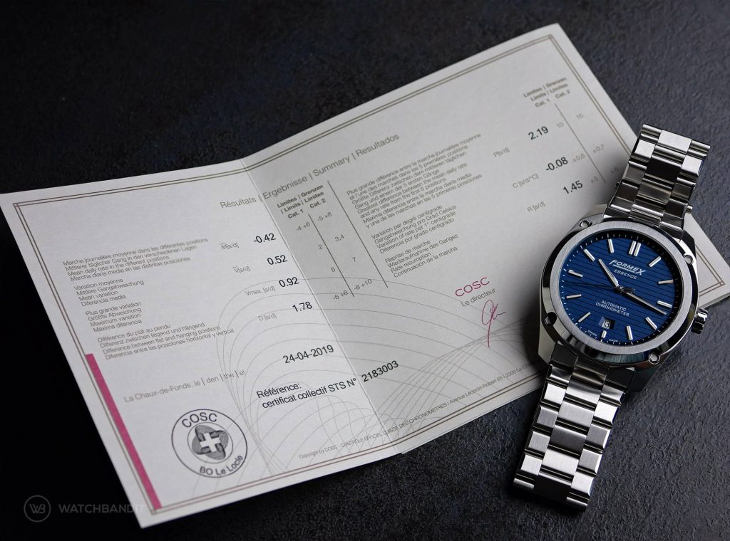 Formex Essence Chronometer COSC Certificate