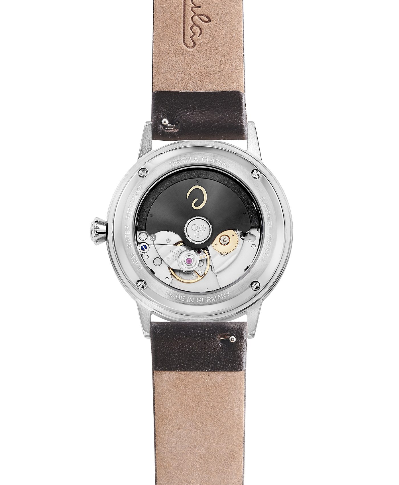WB Circula - Classic Automatic White - Leather Brown back