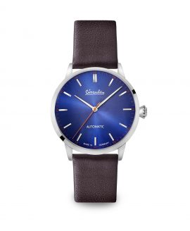 WB Circula - Classic Automatic Blue - Leather Brown Front