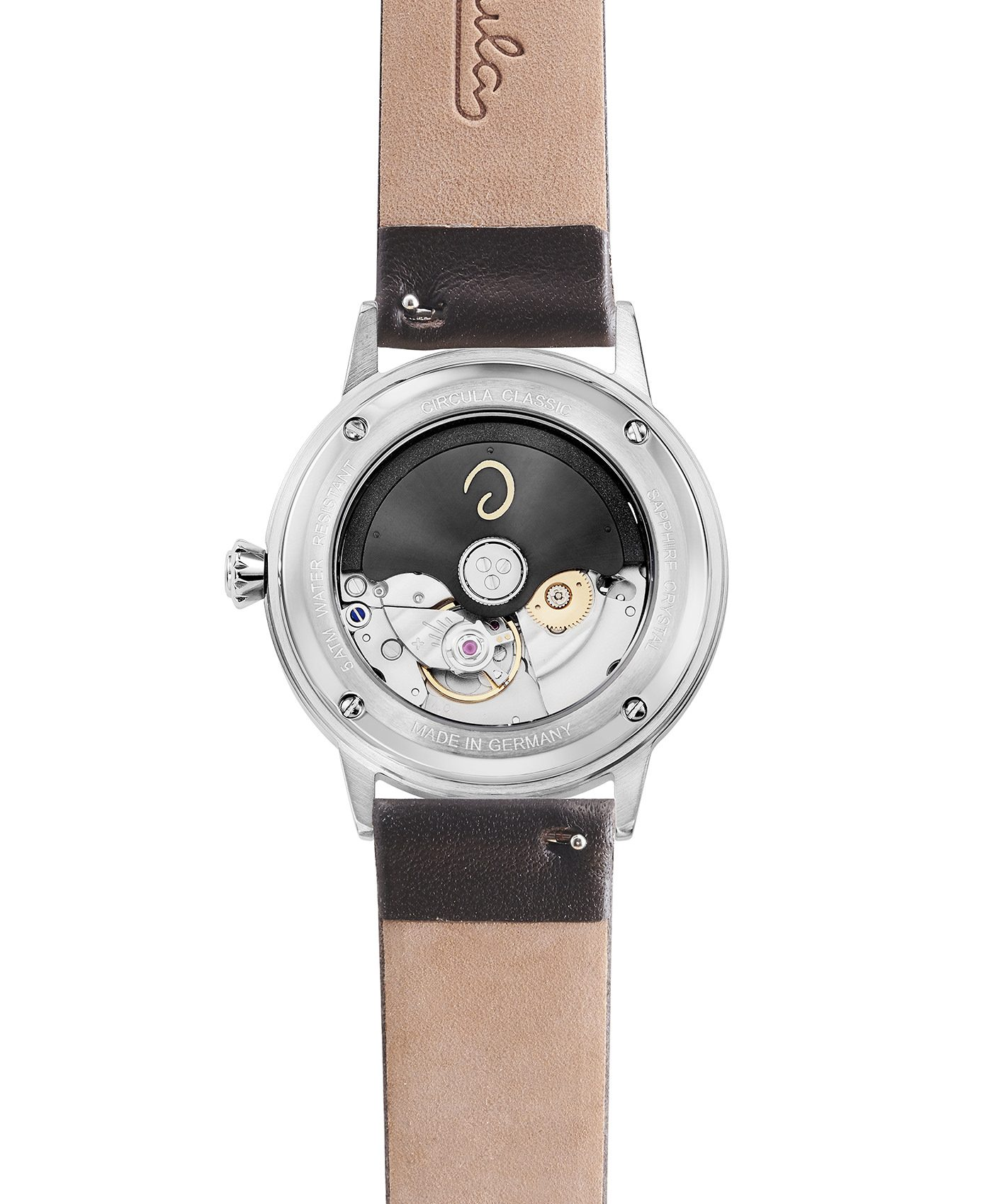 WB Circula - Classic Automatic White - Leather Black back