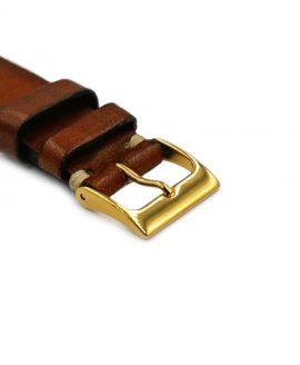 Watchbandit golden buckle on brown vintage strap