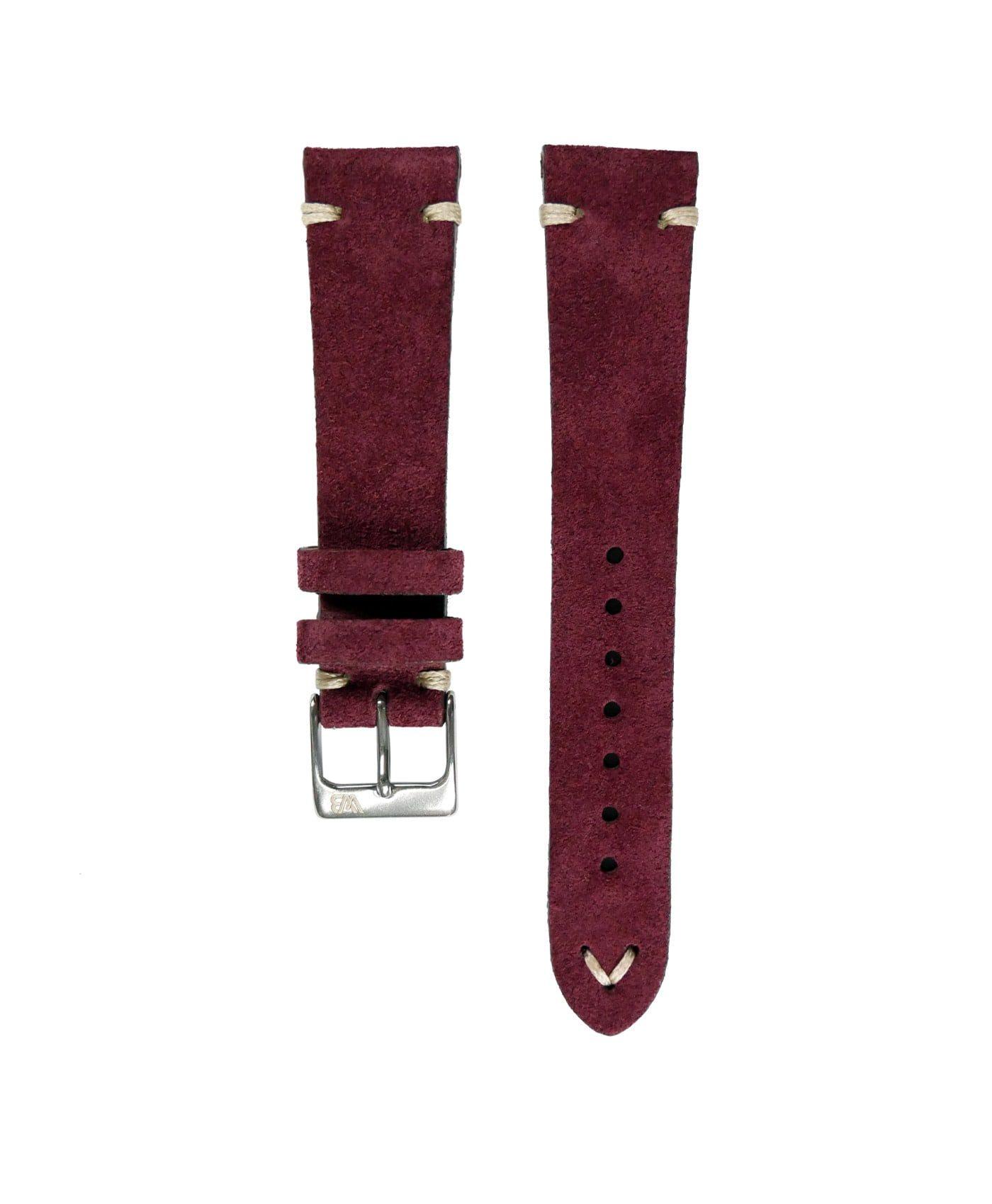 WB original premium suede watch strap burgundy bordeaux red front