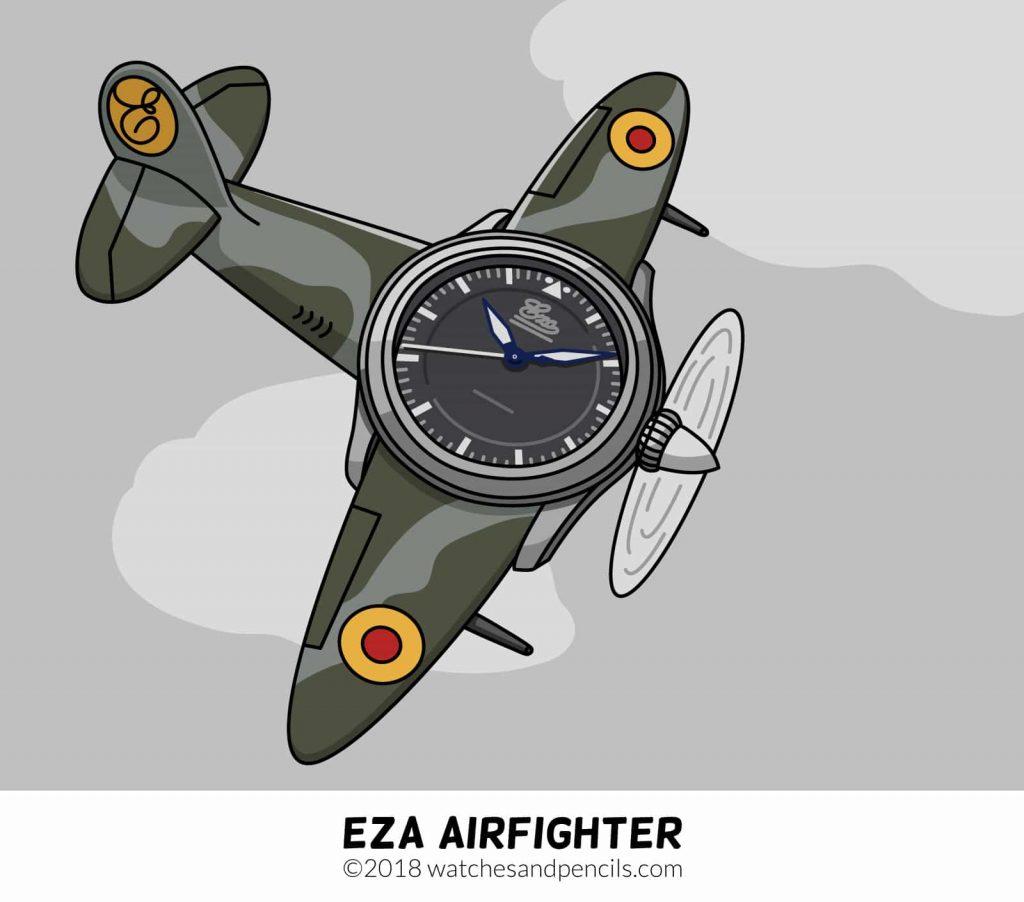 EZA watches Airfighter comic by watchesandpencils