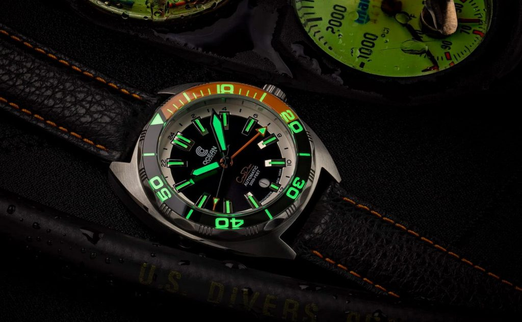 Ocean Crawler Core Diver GMT black orange lume