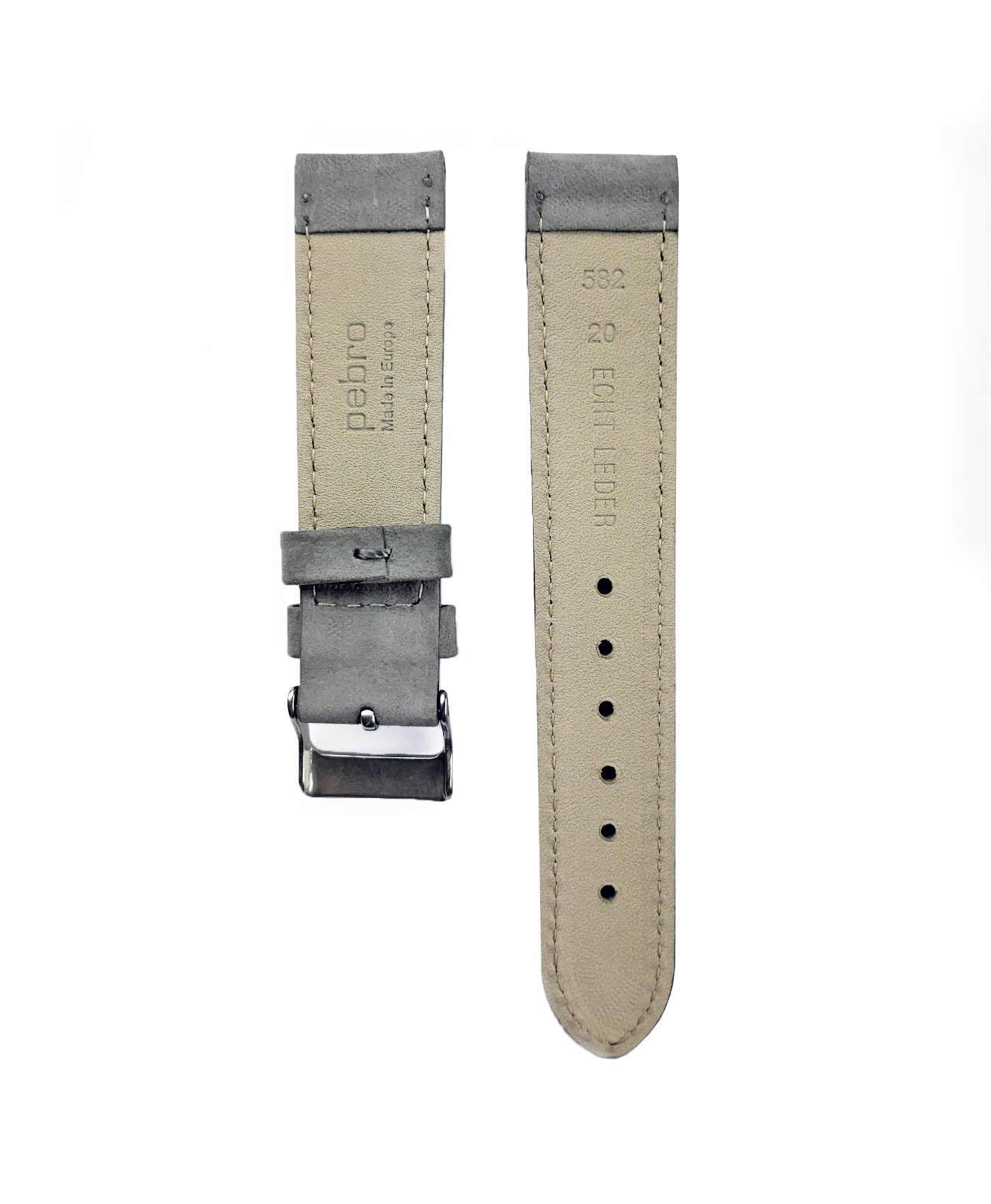 Pebro Premium Calfskin Watch Strap Grey No 582 back