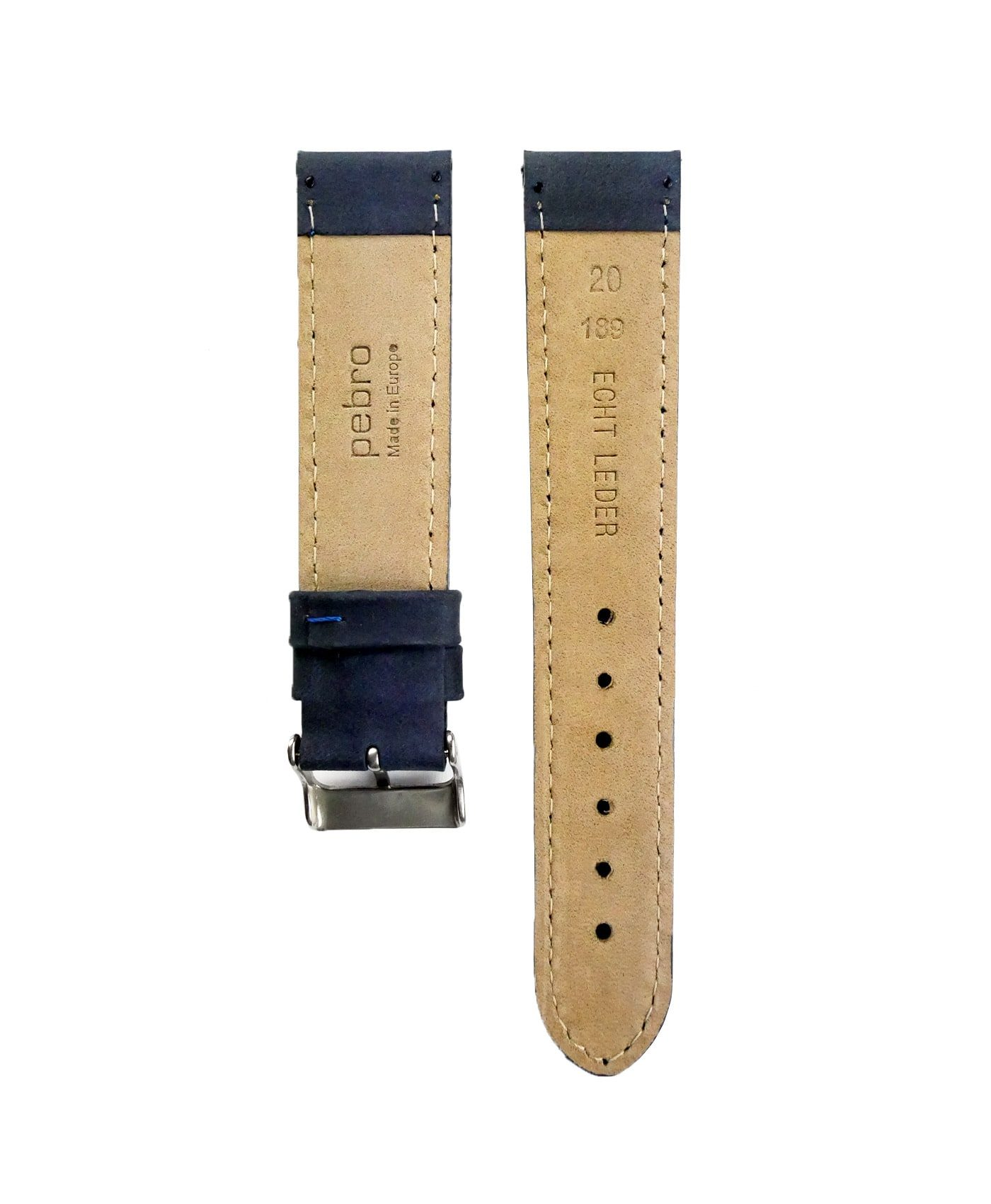 Pebro Premium Calfskin Watch Strap Blue No 189 back