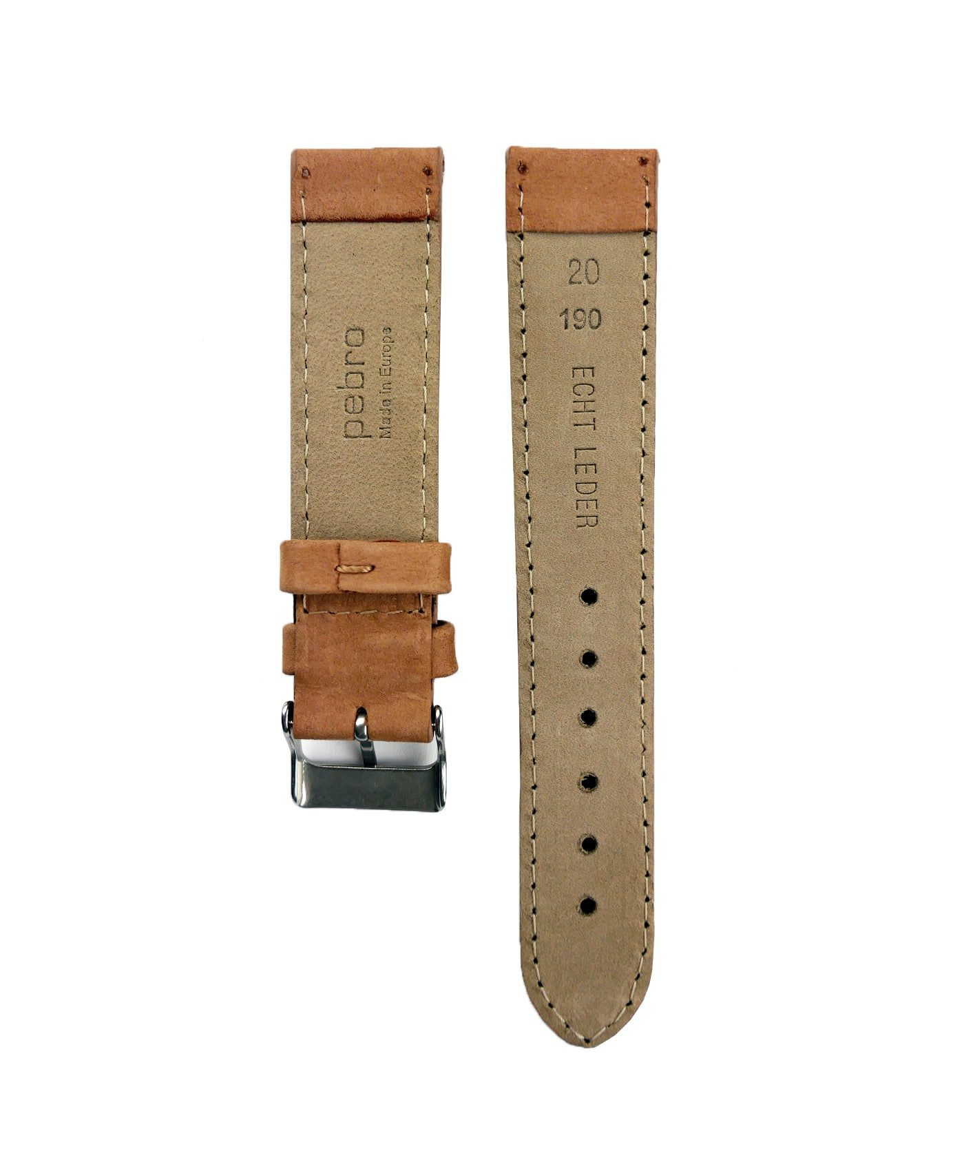 Pebro Premium Calfskin Watch Strap Hazelnut/Brown No 191 back