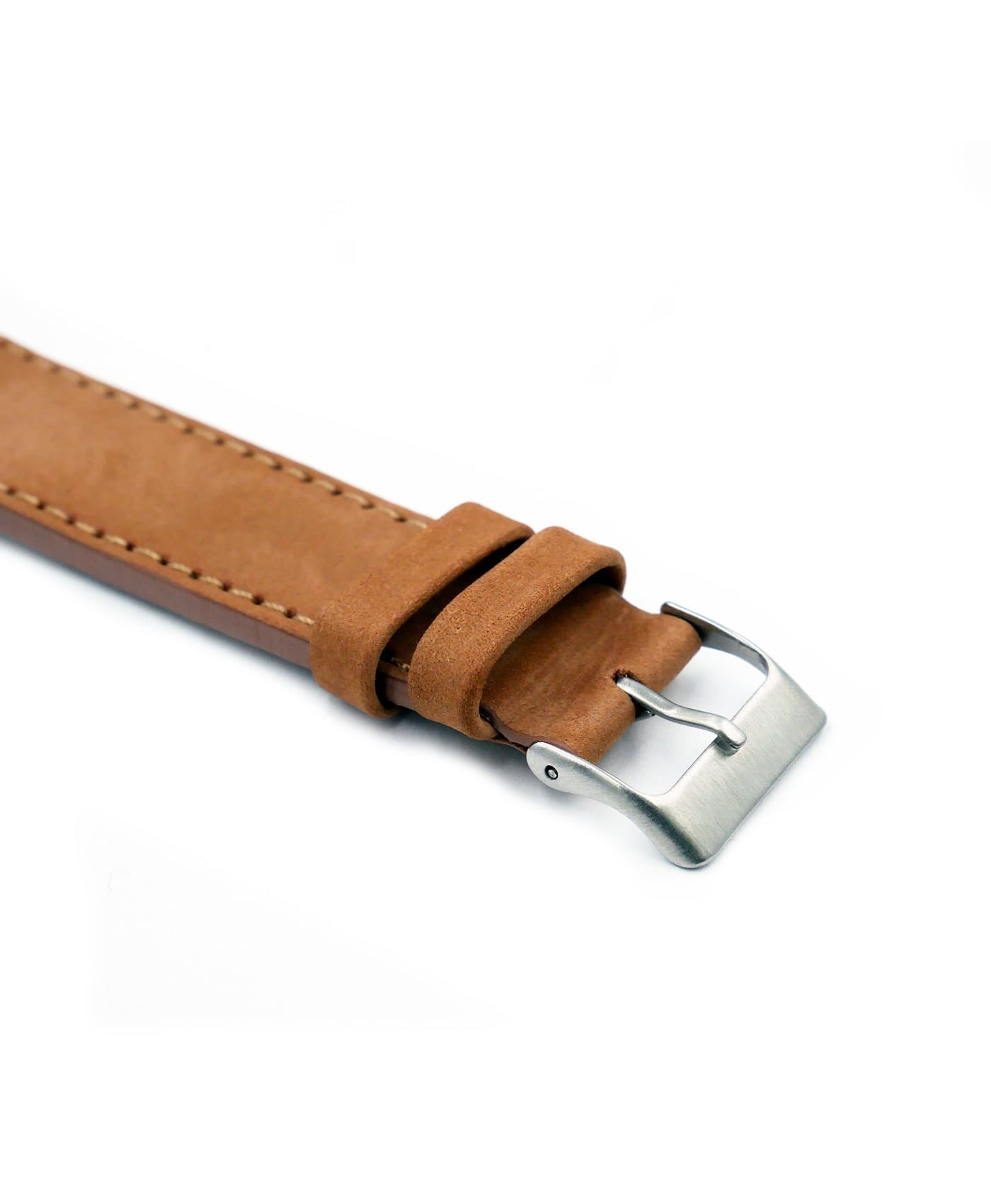 Pebro Premium Calfskin Watch Strap Terracotta Tanned No 190 buckle close up