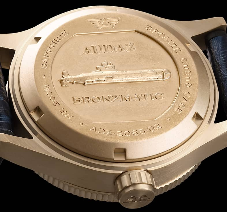 Audaz Bronzematic Bronze watch Caseback submarine