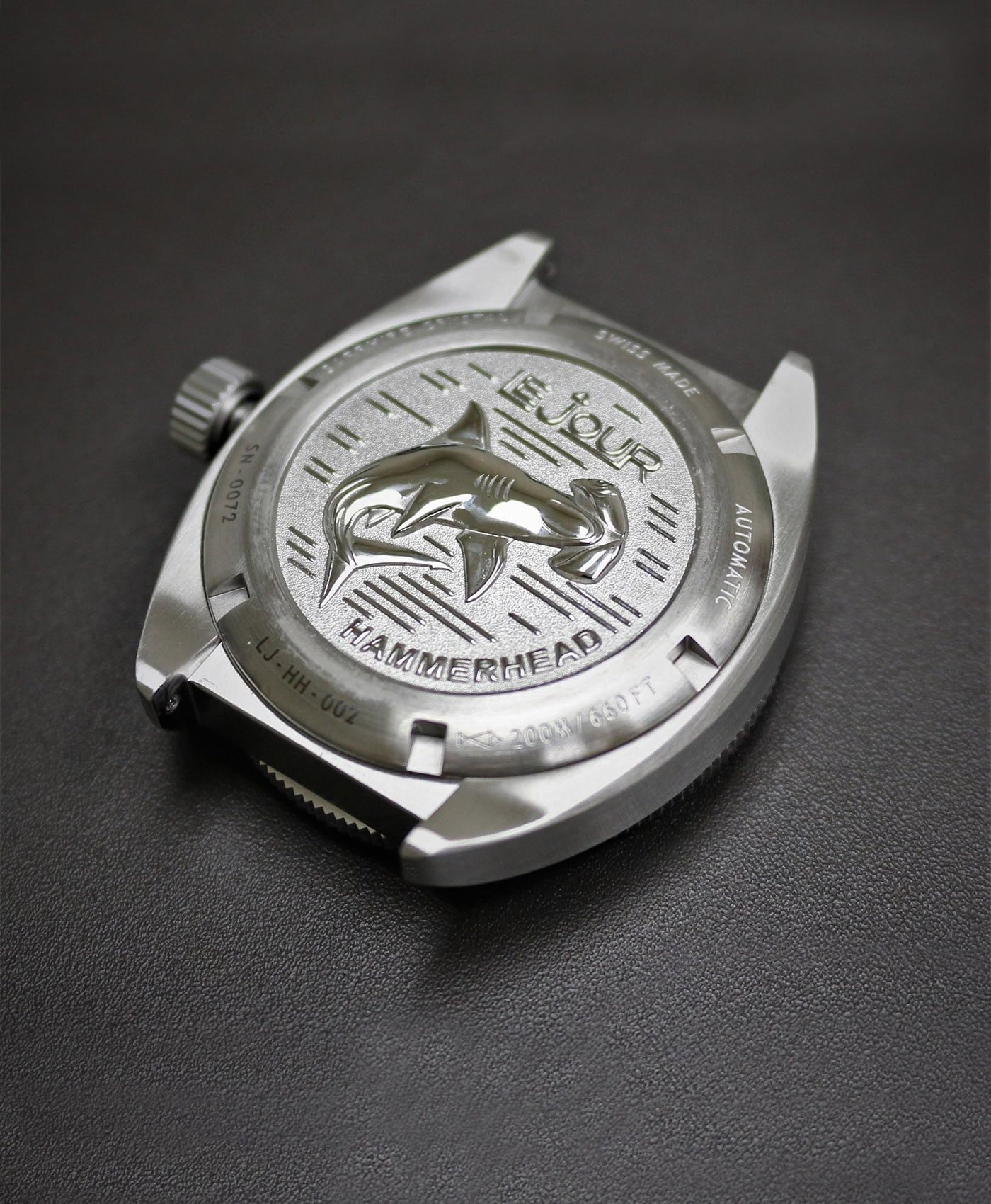 LeJour Hammerhead dive watch case back