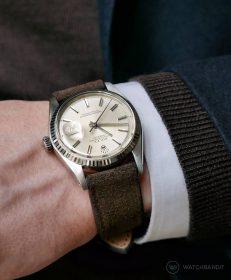 Rolex Datejust 36 Referenz 1601 andunkelbraunen Wildlederarmband von RIOS1931