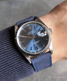 Rolex Datejust 36 Referenz 16234 an blauen Nubuk Kalbslederarmband von WB Original