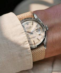 Rolex Datejust 36 Referenz 1601 an Perlon-Armband beige von WB Original