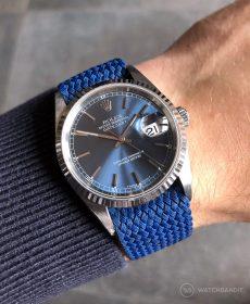 Rolex Datejust 36 Referenz 16234 an Perlon-Armband blau von WB Original
