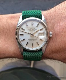 Rolex Datejust 36 Referenz 16014 an Perlon-Armband grün von WB Original