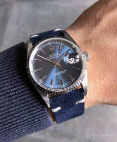 Rolex Datejust 36 Referenz 16234 an blauen Vintage-Wildlederarmband von WB Original
