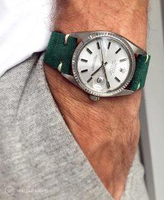 Rolex Datejust 36 Referenz 16014 an petroleum-grünen Vintage-Lederarmband von WB Original