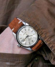 Rolex Datejust 36 Referenz 1601 an hellbraunem Wildlederarmband von WB Original