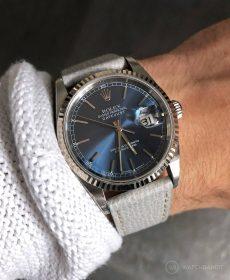 Rolex Datejust 36 Referenz 16233 an grauen strukturierten Kalbslederarmband von Watchbandit
