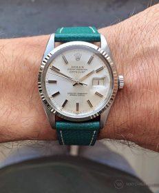 Rolex Datejust 36 Referenz 16014 an petroleum-grünen strukturierten Kalbslederarmband von Watchbandit