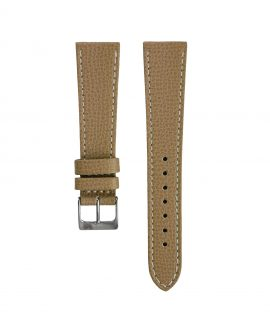 Textured calfskin leather watch strap beige front watchbandit
