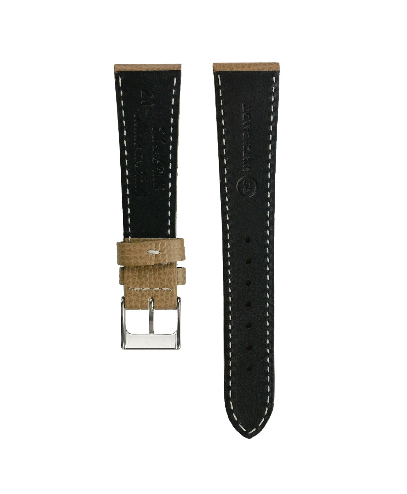 Textured calfskin leather watch strap beige back watchbandit