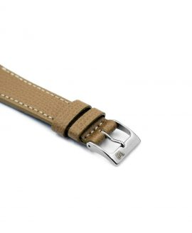 Textured calfskin leather watch strap beige side watchbandit