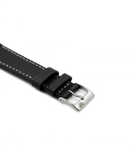 Textured calfskin leather watch strap black side watchbandit