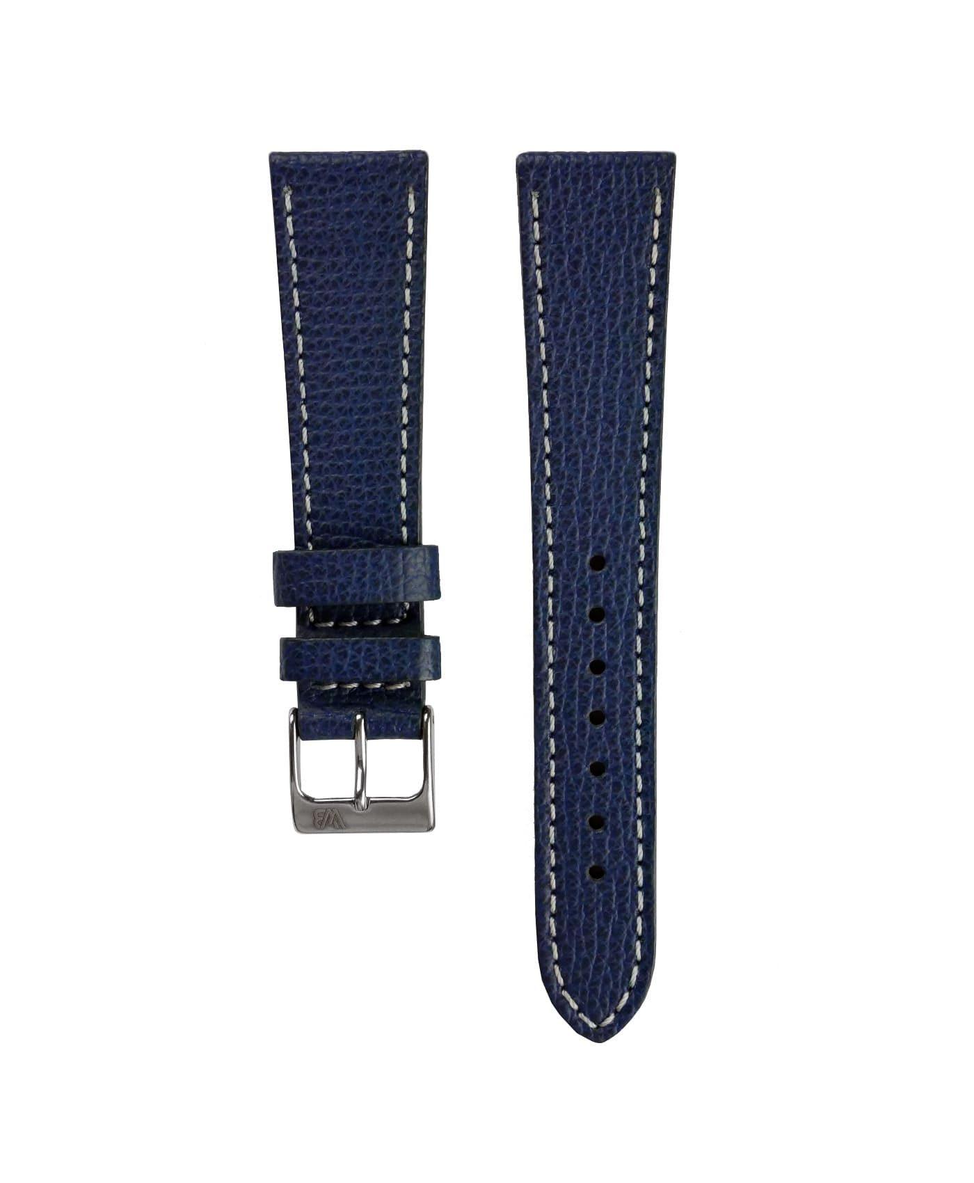 Textured calfskin leather watch strap night blue front watchbandit