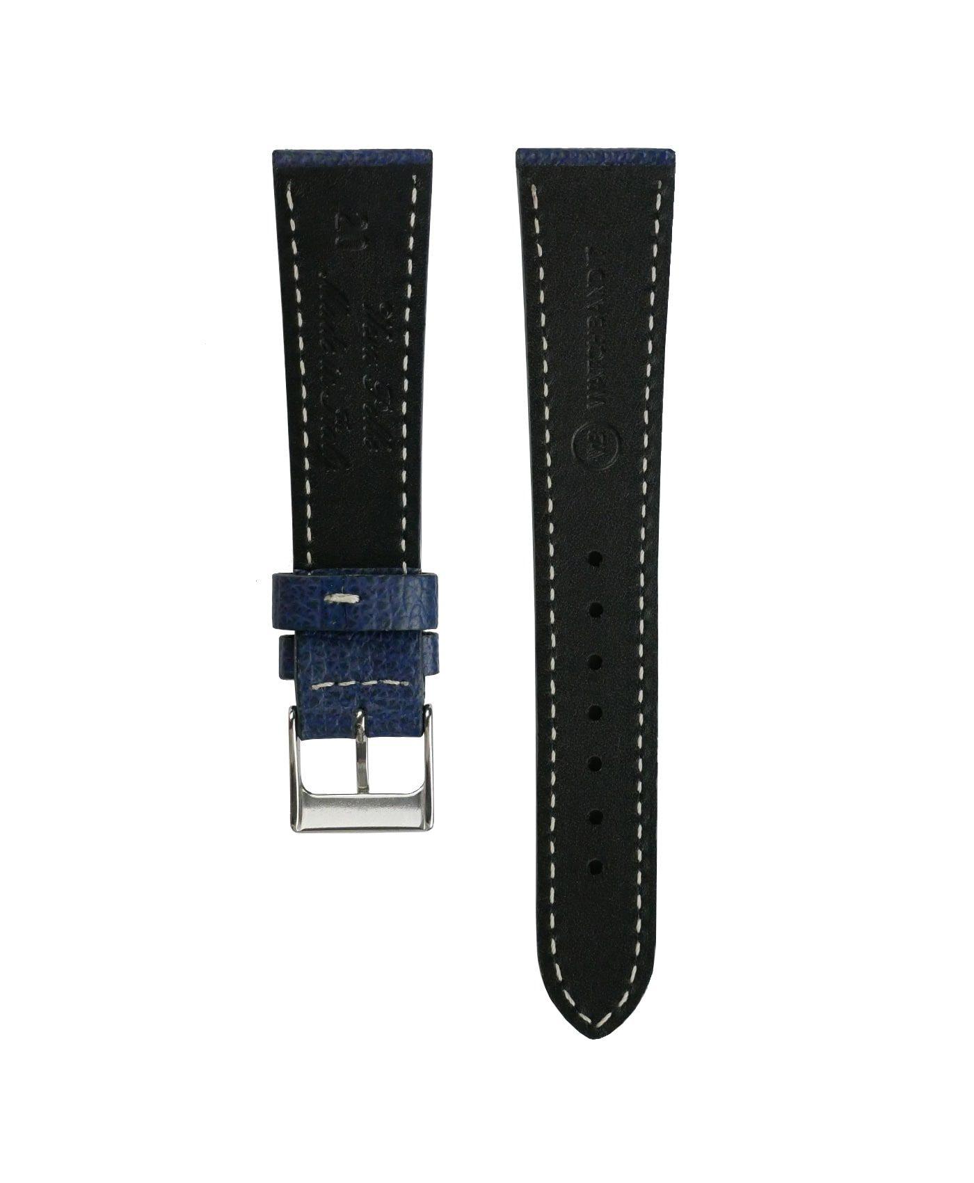 Textured calfskin leather watch strap night blue back watchbandit