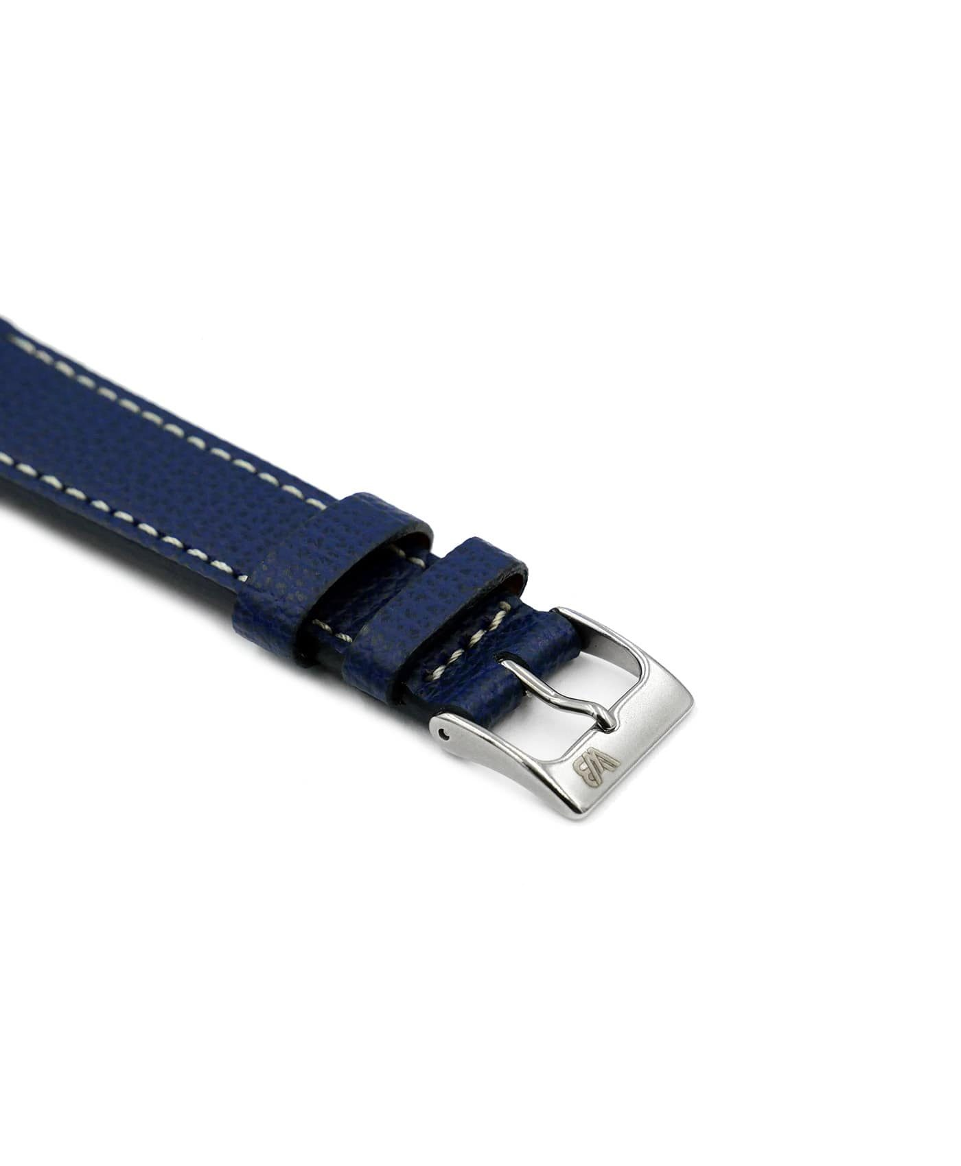 Textured calfskin leather watch strap night blue side watchbandit