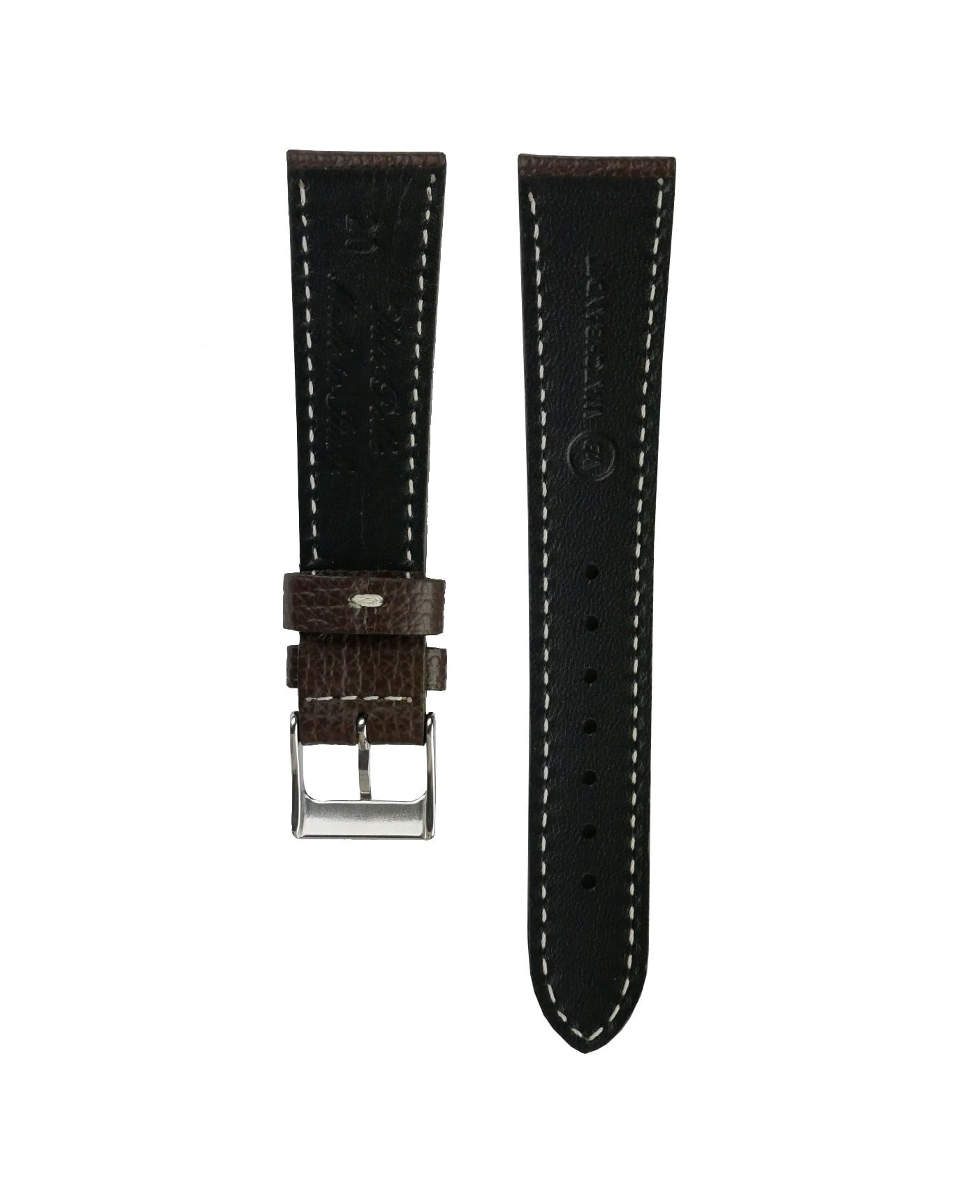 Textured calfskin leather watch strap dark brown back watchbandit