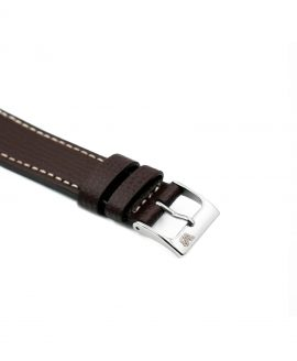 Textured calfskin leather watch strap dark brown side watchbandit
