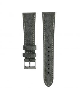 Textured watch leather strap dark grey front watchbandit