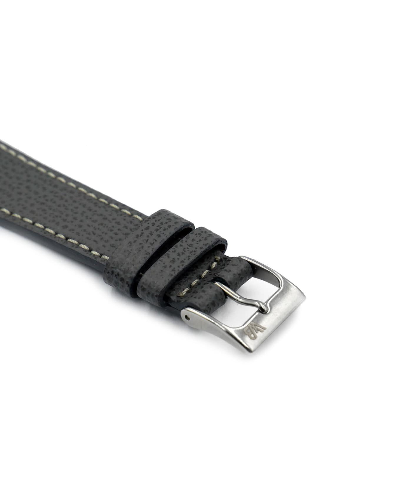 Textured watch leather strap dark grey side watchbandit