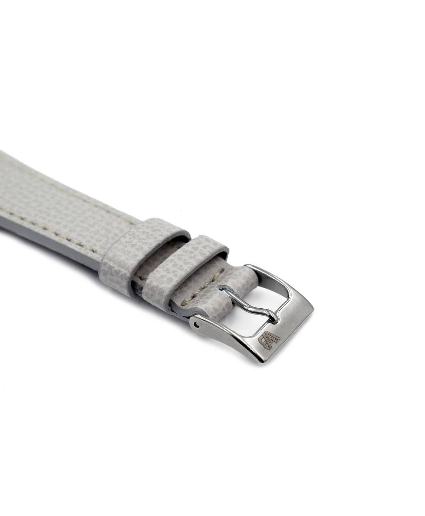 Textured calfskin leather watch strap light grey side watchbandit