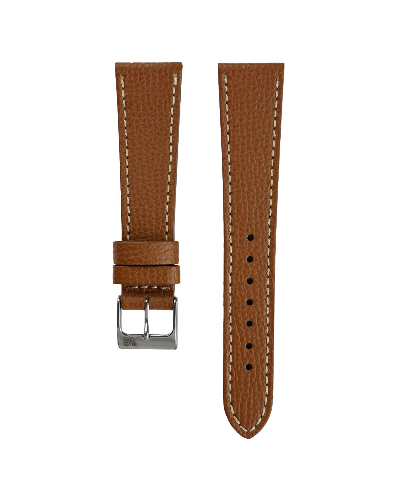 Textured calfskin leather watch strap tanned light brown front watchbandit