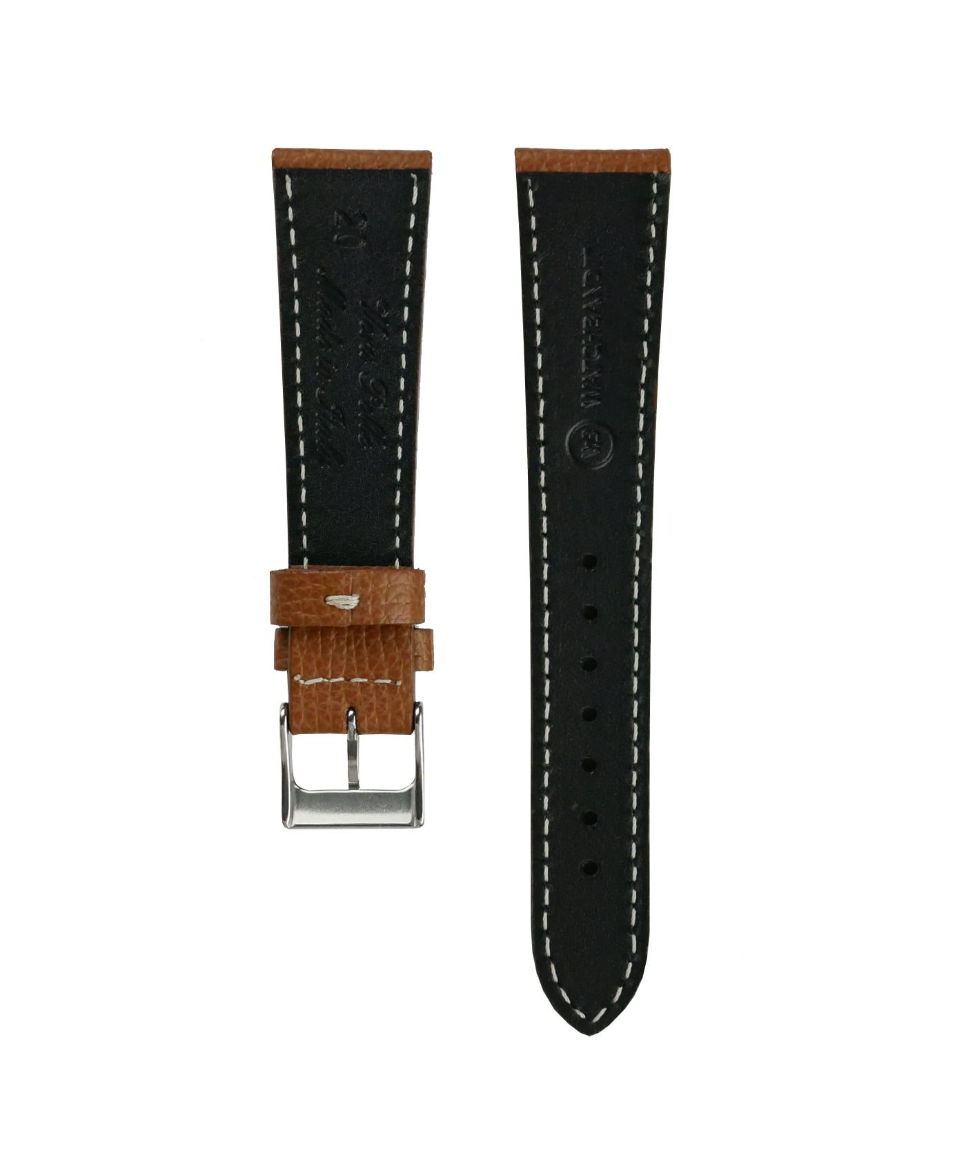 Textured calfskin leather watch strap tanned light brown back watchbandit