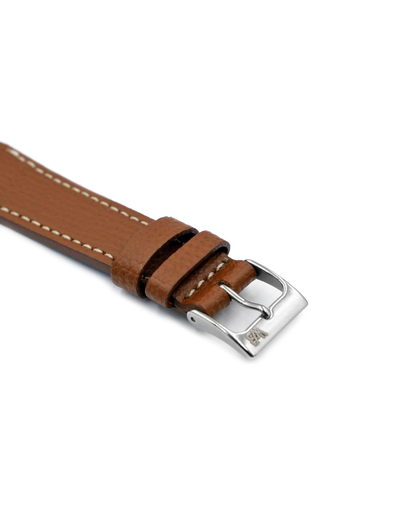 Textured calfskin leather watch strap tanned light brown side watchbandit