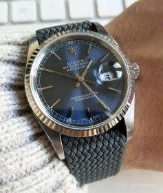 Rolex Datejust 36 Referenz 16234 an Perlon-Armband dunkelgrau von WB Original