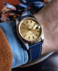 Rolex Datejust 36 Referenz 16233 an blauen strukturierten Kalbslederarmband von Watchbandit