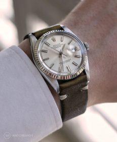 Rolex Datejust 36 Referenz 1601 an militär-grünen Vintage-Lederarmband von WB Original