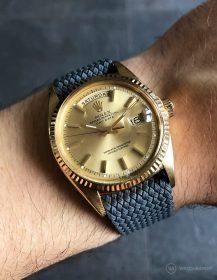 Rolex Day-Date an dunkelgrauen Perlon-Armband von WB Original