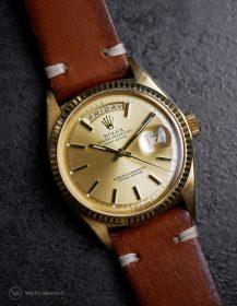 Rolex Day-Date an braunen Vintage-Lederarmband von WB Original